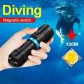 Мощный светодиодный фонарик для дайвинга L2, глубина 200 м, водонепроницаемый подводный фонарь для кемпинга с плавным затемнением, D2, 18650 26650