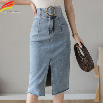 Summer 2020 Latest Long Denim Skirts Womens With Belt Korean Style Casual Split High Waist Jean Skirt Wild Slim Blue Jean Skirt self belt ruffle waist high split skirt