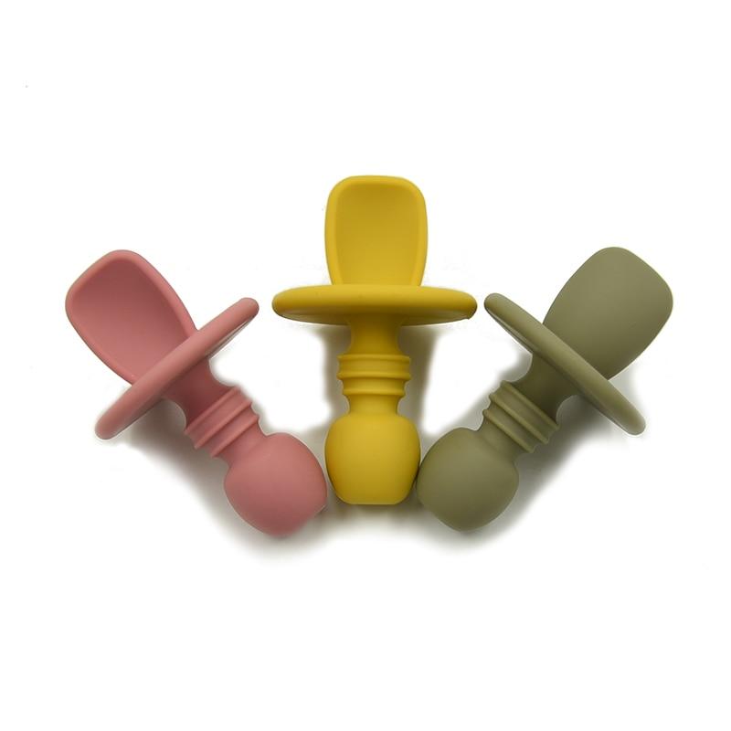 3PCS Baby Silicone Short Spoon Anti-choke Design BPA Free Toddlers Infant Feeding Accessories Safe Silicone Feeding Set