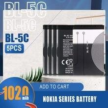 Batteries Li-ion 1020mAh BL5C BL 5C, 5 pièces, pour téléphone portable Nokia 1100 1112 1208 1600 2610 2600 2700 3100 3110 N70 N71