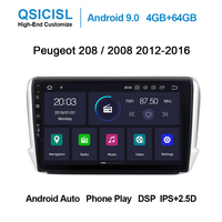 Android 9.0 PX6 4GB+64GB IPS 2.5D car dvd multimedia player for Peugeot 208 / 2008 2012 2016 head unit radio multimedia stereo