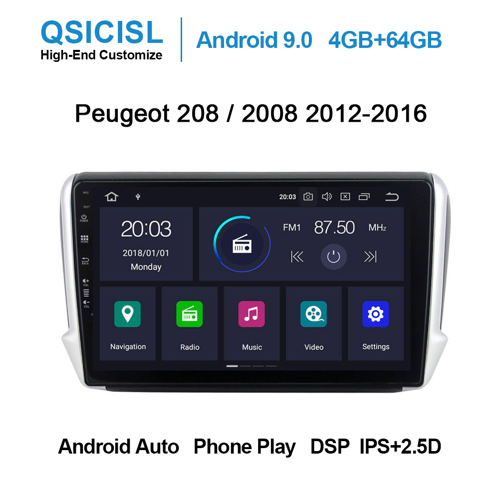 Android 9.0 PX6 4GB+64GB IPS 2.5D car dvd multimedia player for <font><b>Peugeot</b></font> <font><b>208</b></font> / 2008 2012-2016 head unit <font><b>radio</b></font> multimedia stereo image
