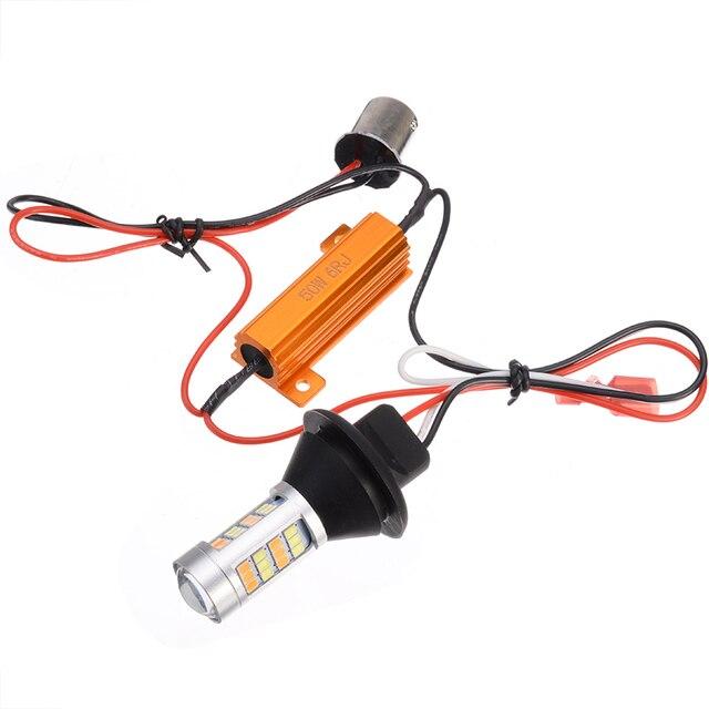 Pour éclairage de voiture 2 pièces 1156 haute puissance double couleur Switchback LED ampoule P21W S25 BA15S 2835 42LED lampe de clignotant diurne 5