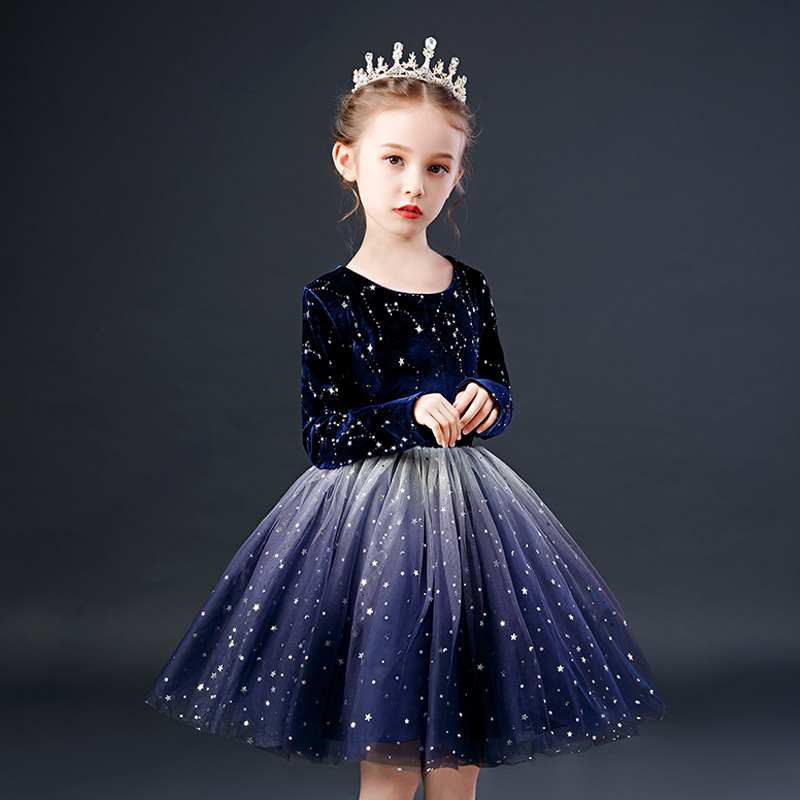 Girl Christmas Party Prom Formal Communion Long Sleeved Dress Flower Girl Luxury Tulle Party Dresses For Wedding Party Vestido