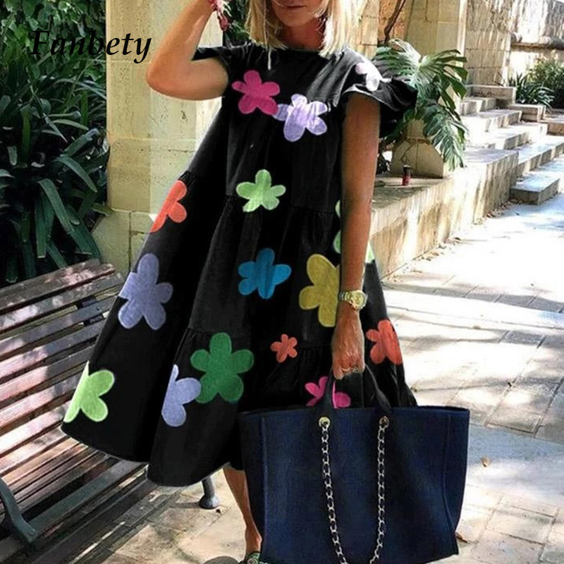 Women Vintage Floral Print Loose A-Line Dress 2XL Elegant Casual O-neck Short Sleeve Dress 2020 Summer Lady Party Dress Vestidos
