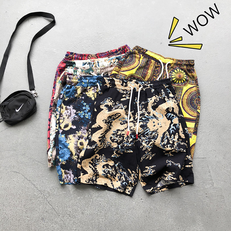 Men's Five-minute Pants 2020 Summer Casual Shorts Full Of Trendy Beach Pants Thin Linen Casual Pants  Floral  Knee Length