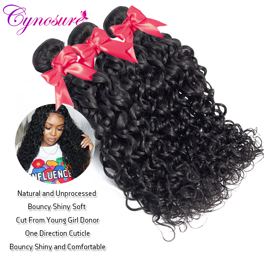 H1a40d34c22cf405b9ac91c93f2010f8f1 Cynosure Human Hair Water Wave Bundles with Closure Double Weft Brazilian Hair Weave 3 Bundles With Closure Remy