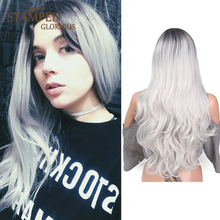 Stamped Glorious 24inches Ombre Black Gray Cosplay Wig Natural Wave Wig