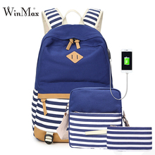 New 3pcs Sets Backpack For Teenage Girls School Bags Striped Print Canvas Backpacks USB Laptop Backpack Daypack Phone Pencil Bag