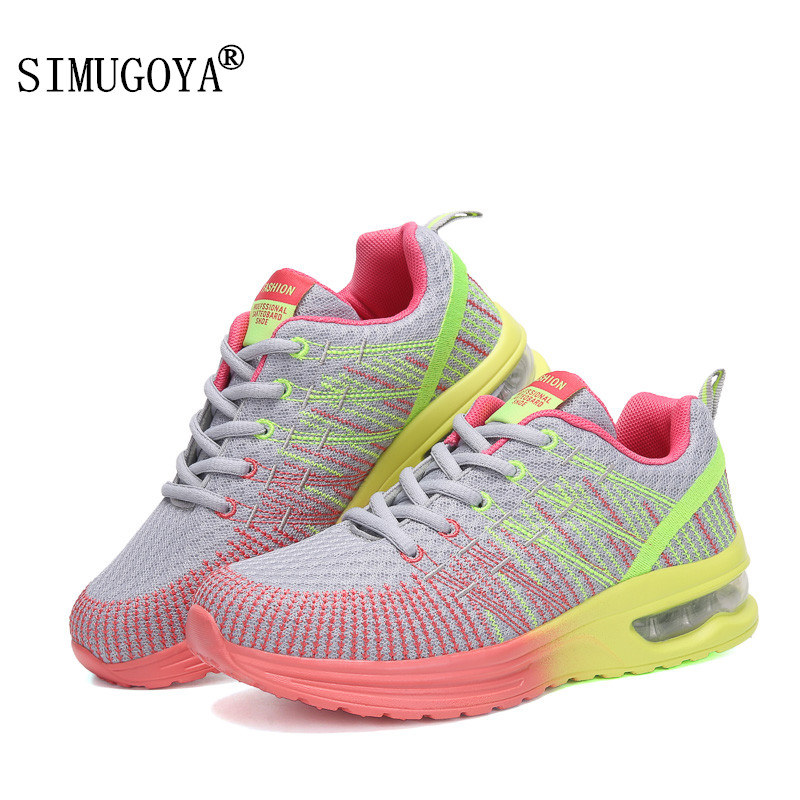 SIMUGOYA Spring Autumnr New Air Cushion Women's Shoes Flying Line Weaving Breathable Woman Mesh Shoes Casual Shoes Female 35-42