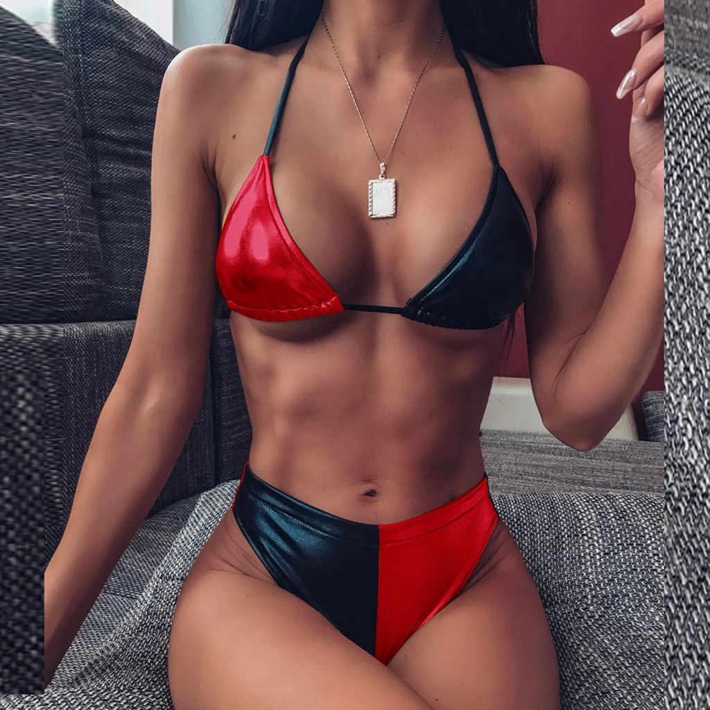 セクシーなビキニセット 2020 光沢のある包帯ストレッチ水着女性プッシュアップ Biquini 女性のブラジル水着水着ビーチウェア 19Dc