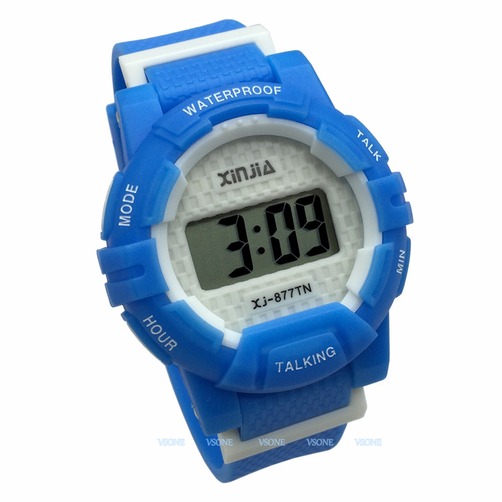 Russian Talking Wrist Watch Electronic Sports Watches With Alarm, With Blue Ruber Strap 877TN(BLU)