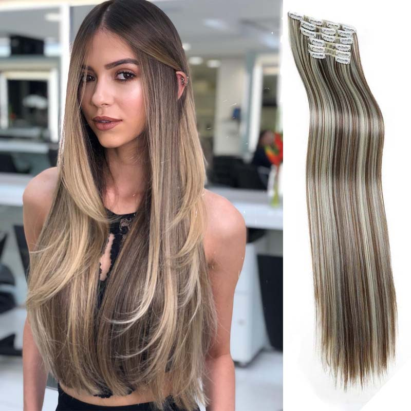 Long Straight Synthetic Clip In Hair Extensions Heat Resistant Natural Hair Extensions 16 Clip In Hair Pieces 9 colors