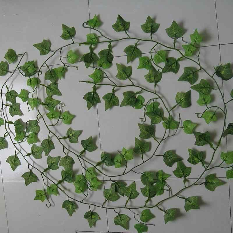 2.4M Home Decor zielony sztuczny liść bluszczu girlanda roślinna sztuczne pnącze kwiaty pnącza zielony bluszcz Rattan String Home Decor