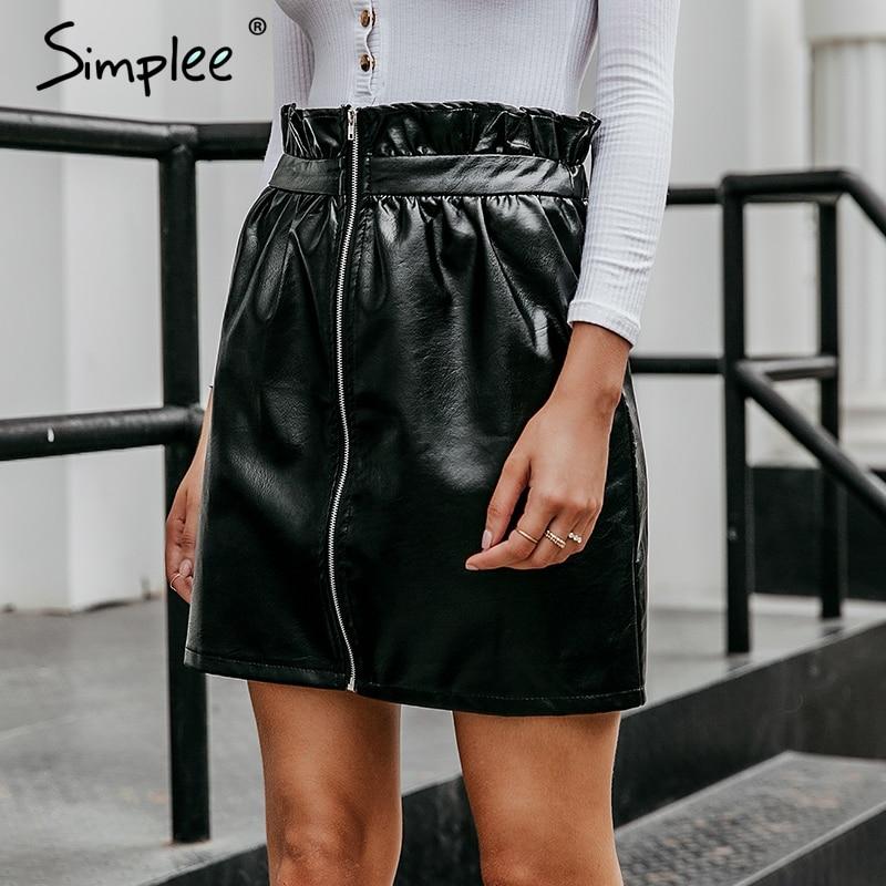 Simplee Ruffled Pu leather women skirt sexy high waist zipper black female short mini skirt Party club ladies bottom skirts 2019