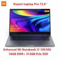 Xiaomi-ordenador portátil Pro de 15,6 pulgadas, Notebook i7-10510U mejorada, 16GB de RAM, 512GB SSD, 100% sRGB, pantalla FHD, MX250, desbloqueo de huella dactilar