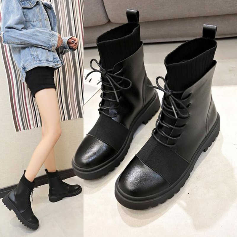 Spring Boots Women Shoes Woman Boots Fashion Flat Round PU Ankle Boots 2019 Spring Elastic Lace Black Boots Comfortable Boots