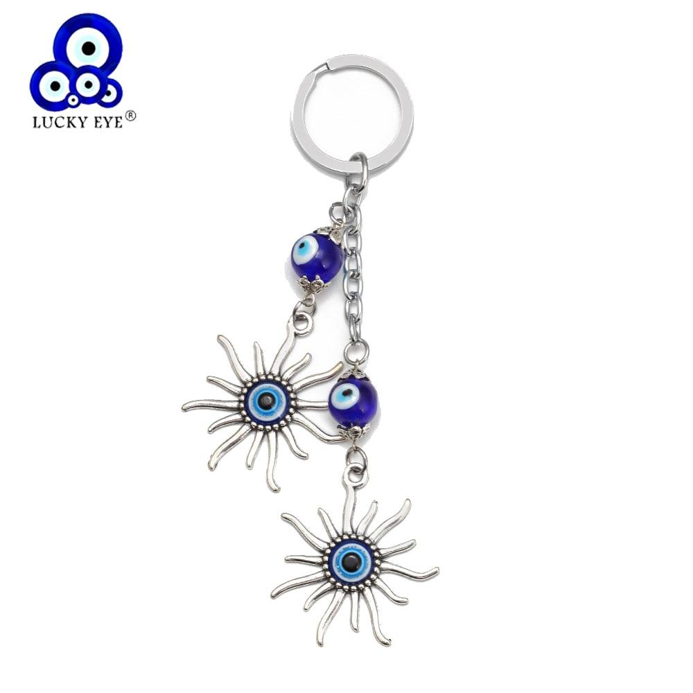 Sun Keychain Keyring Evil Eye Bead Lucky Gift დეკორატიული სამკაულების აქსესუარები თურქული Keyring