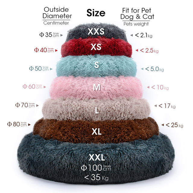Fluffy Pet Dog Bed Soft Round Dog Long Plush Kennel For Dogs Washable Puppy Cat Bed Cushion Winter Warm Sofa House Accessories 2
