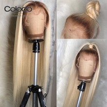 COLODO 613 Lace Front Wig With Babyhair Brazilian Hair Remy Preplucked Ombre Blonde Human Hair Wig Straight Wigs For Black Women(China)