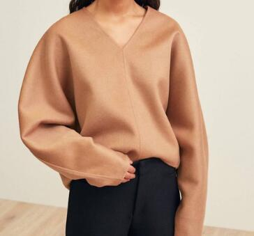 Women Sweater Nordic V neck Wool and Cashmere Double faced Coat