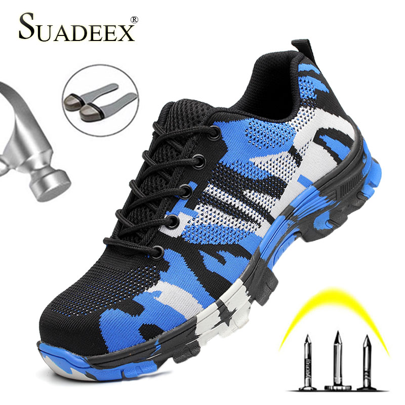 SUADEEX Safety Shoes Steel Toe Work Shoes Men Women Breathable Indestructible Anti-Smashing Work Safety Boots Men Anti-slippery