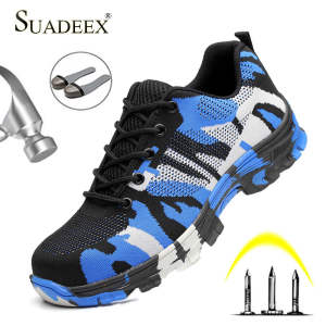 SUADEEX Steel Toe Work Shoes Men Women Breathable Indestructible Safety Shoes Anti-Smashing Work Safety Boots Men Anti-slippery