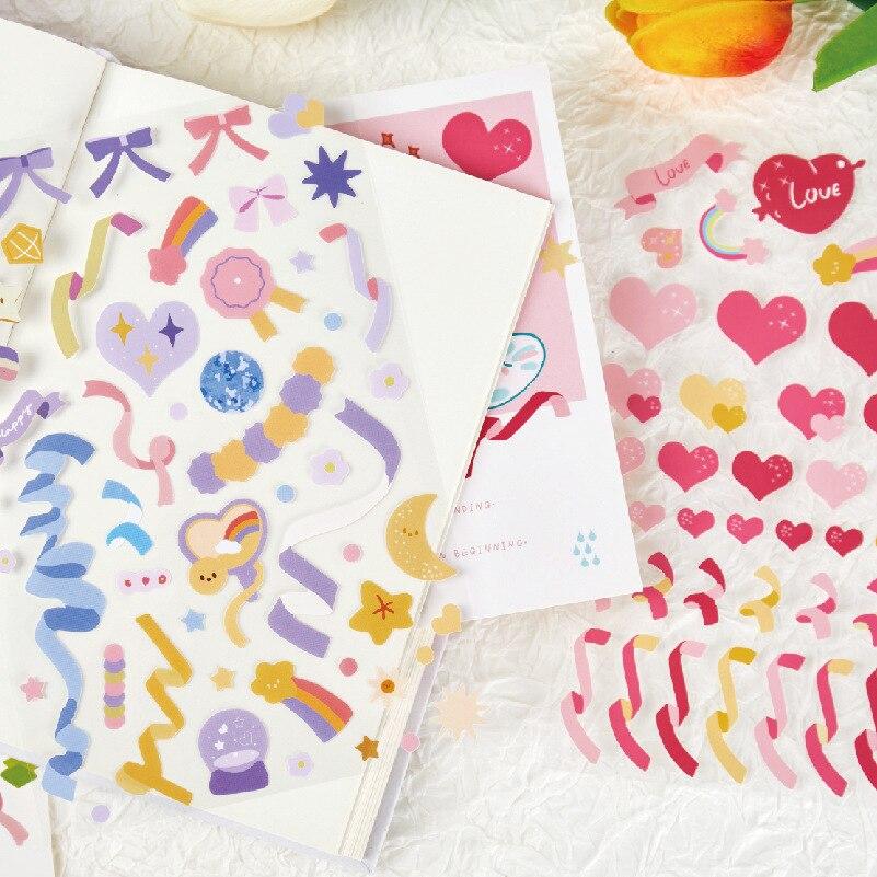 1 sztuk kolorowa wstążka miłość dekoracyjne naklejki papiernicze Scrapbooking DIY pamiętnik Album festiwal Stick label