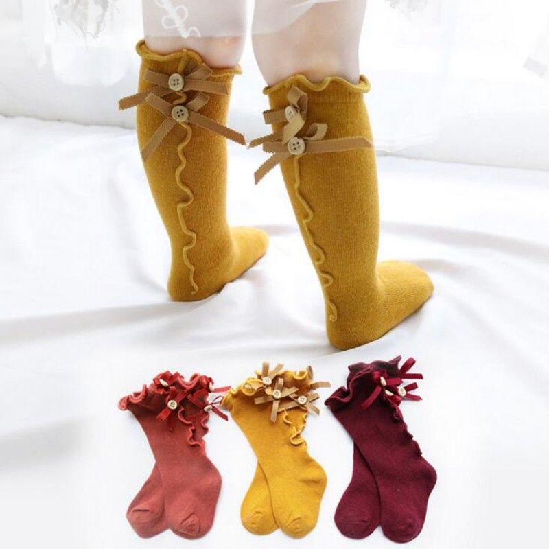 The New Cotton Lace Bow Medium Bowknot Socks For Baby Girls Toddler Spring Autumn Kids High Knee Sock High - Quality Legwarm