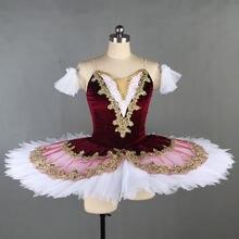 Children Professional Ballet Tutu For Kids Girls Red Swan Lake Ballet Dance Clothes Adult Pancake Ballerina Figure Skating Dress