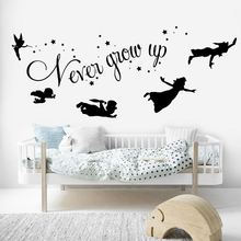 цена на Cartoon Peter Pan Never Grow Up Quote Wall Decal Baby Nursery Kids Room Peter Pan Tinkerbell Star Wall Sticker Vinyl Art LW244