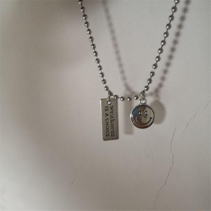 Kpop hip hop aço inoxidável punk colares para homens mulher egirl clavícula metal smiley carta link corrente colar bff jóias quente