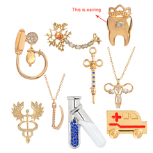 Medical brooches collection Gold Silver jewelry Caduceus Neuron ambulance tube syringe tooth pins for Doctor friend