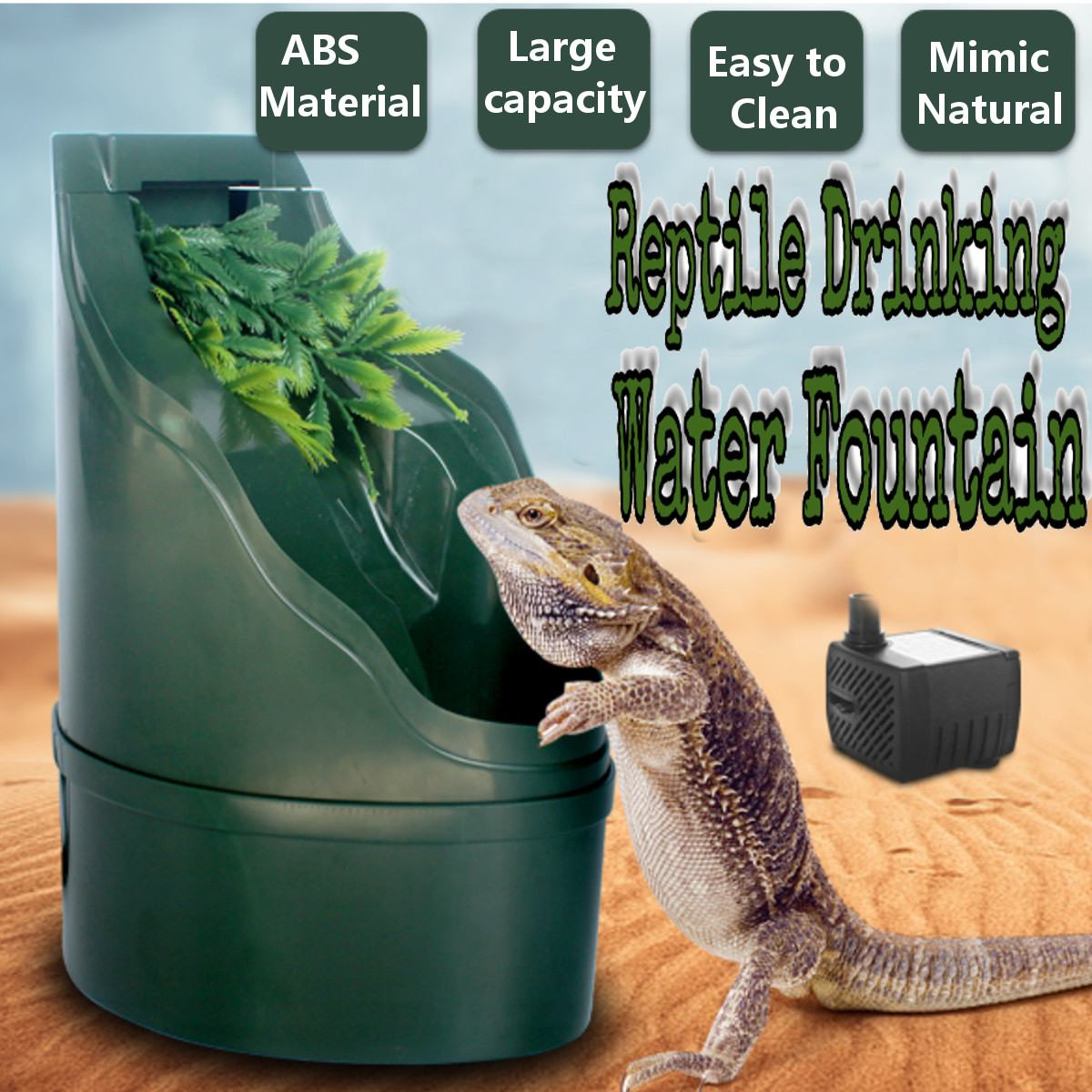 180x275cm Reptile Drinking Water Feeder Filter Fountain Feeding Chameleon Lizard Dispenser Terrarium Reptiles Feeding Supplies