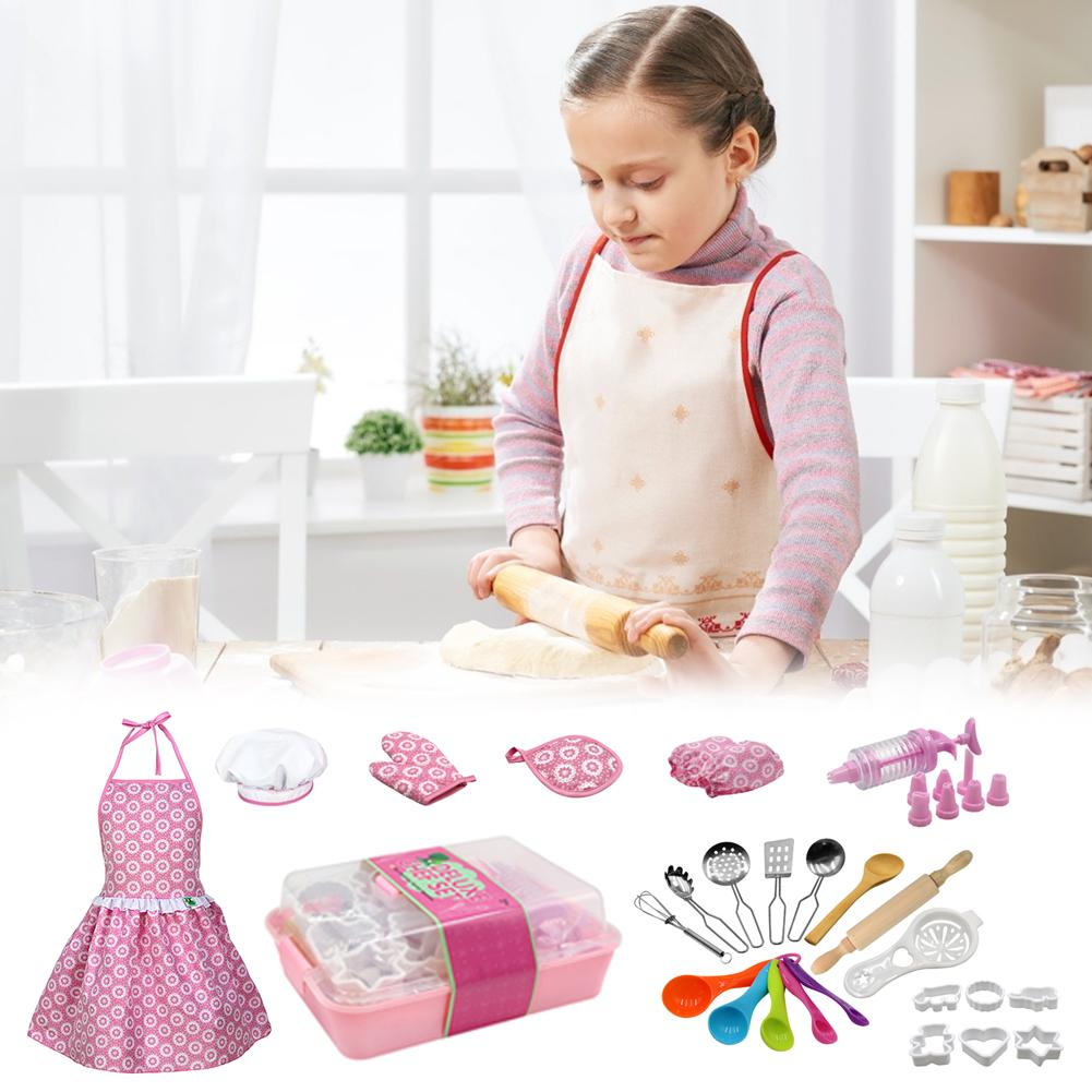 Complete Kids Cooking Baking Toy Set Role Play Kitchen Utensils Baking Tools Cake Apron