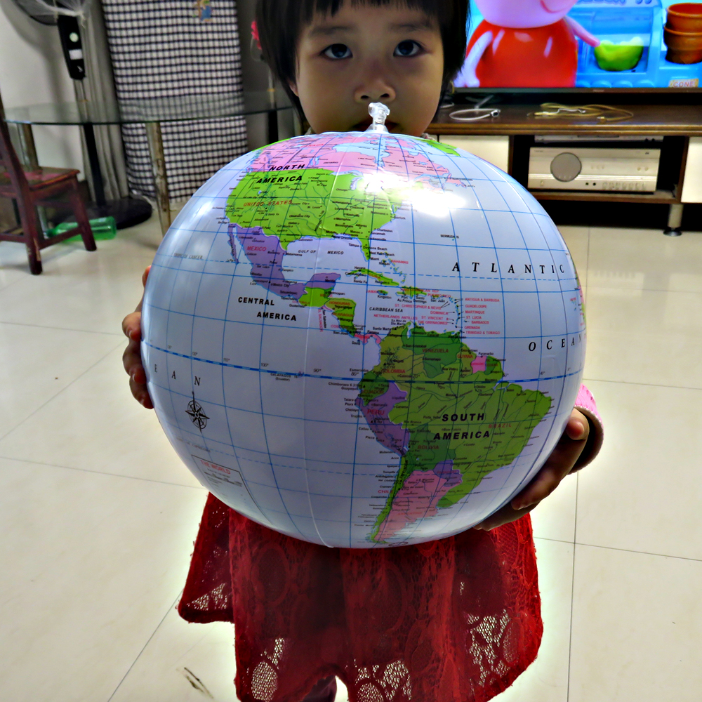 Inflatable Globe 16Inch Map Ball Geography Learning Educational World Earth Ocean Beach Ball Kids Geography Educational Supplies
