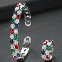 GODKI Luxury 2 Rows Crystal Saudi Arabia Bangle Ring Set Jewelry Set For Women Wedding Engagement brincos para as mulheres 2020