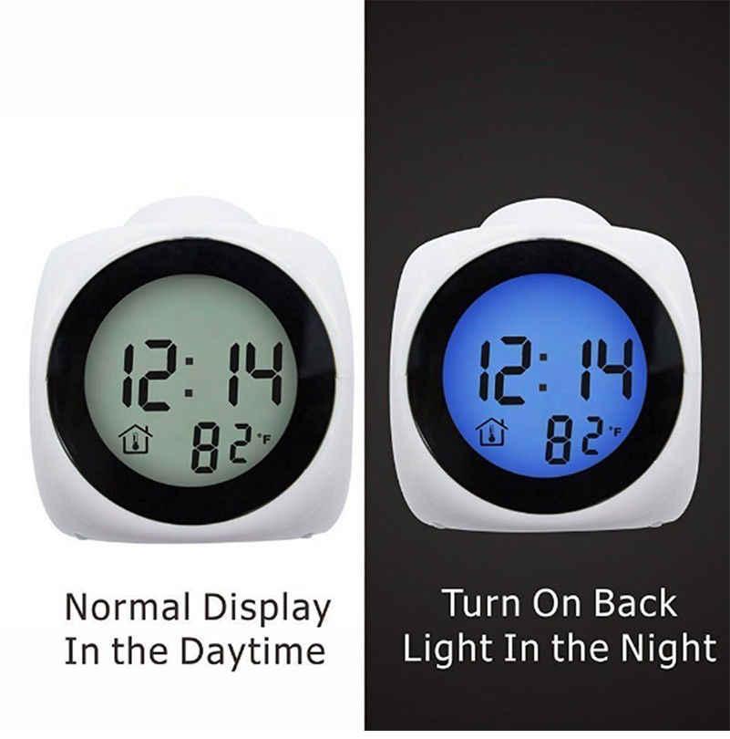 LED Proyeksi Digital LCD Suara Berbicara Jam Alarm Waktu Suhu Proyektor Jam Alarm dengan Waktu Proyeksi Hitam & PUTIH