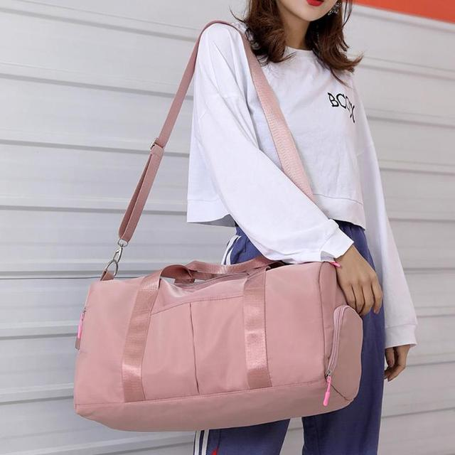 Nylon Women Men Travel Sports Gym Shoulder Bag Large Waterproof Nylon Handbags Black Pink Color Outdoor Sport Bags 2019 New 5