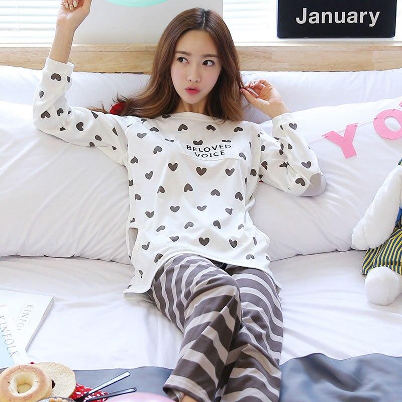 According To Feminine Spring And Autumn Korean-style WOMEN'S Pajamas Cute Peach Heart Stripes Brown Pants Thin Long Sleeve Qmilc
