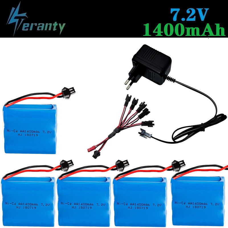 7.2v 1400mAh Battery Charger Sets For RC Cars Robots Tanks Train Gun Boats Aa NiCD Battery 700mah 7.2v Rechargeable Battery Pack