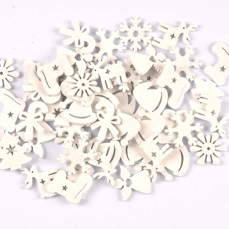 50 шт. 22-30 мм белые рождественские деревянные ломтики фотография для скрапбукинга домашнее украшение деревянные украшения m2215