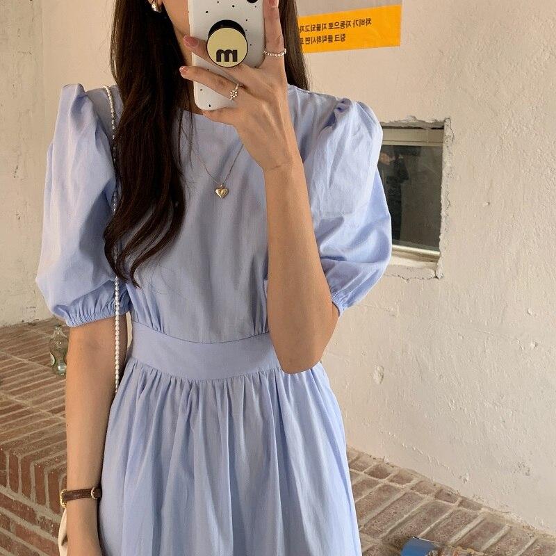 H1a42ba68d9f544bf8d2f536232491d987 - Summer O-Neck Short Sleeves Elastic-Waist Calf Length Solid Dress