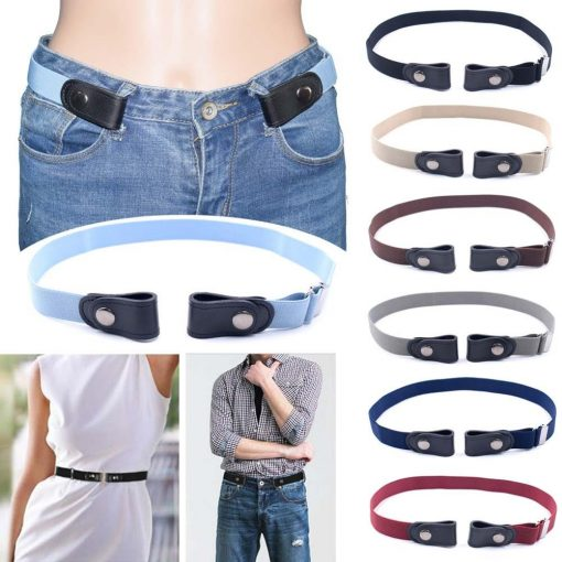 Women's Buckle-Free Elastic Belts Invisible Belt for Jeans No Bulge Hassle Band Fashion Casual Adjustable Button Canvas Belt(China)