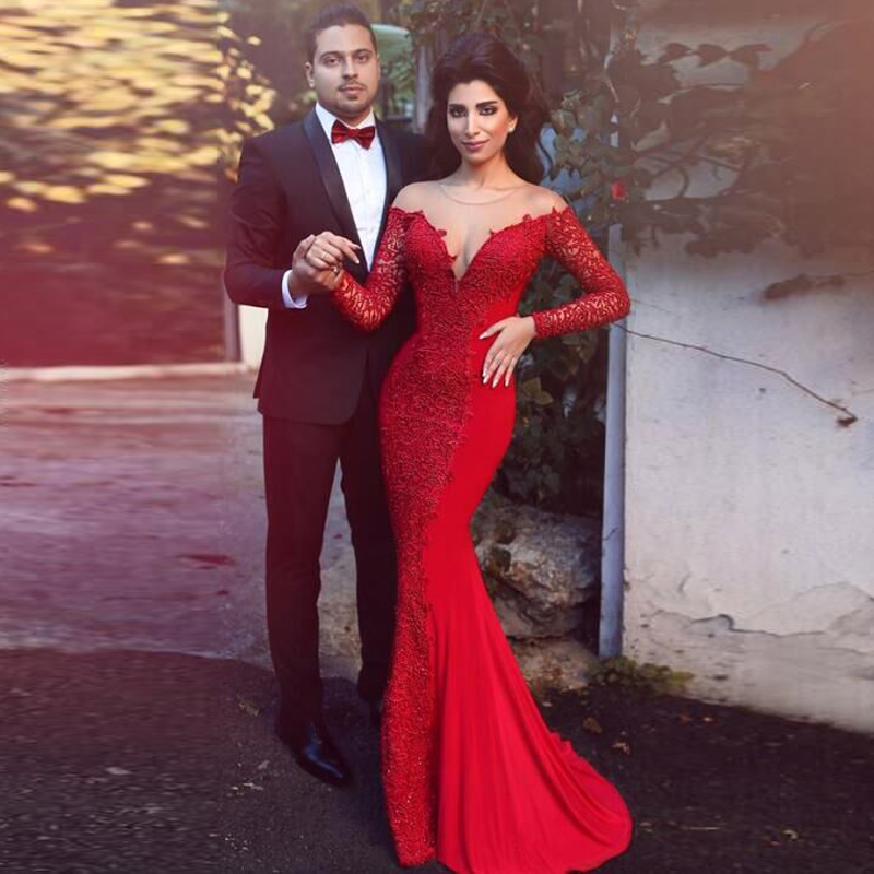2018 Red Lace Mermaid Long Sleeve Formal Sheer Sexy Evening Gown Vestido De Noiva Robe De Soiree Mother Of The Bride Dresses