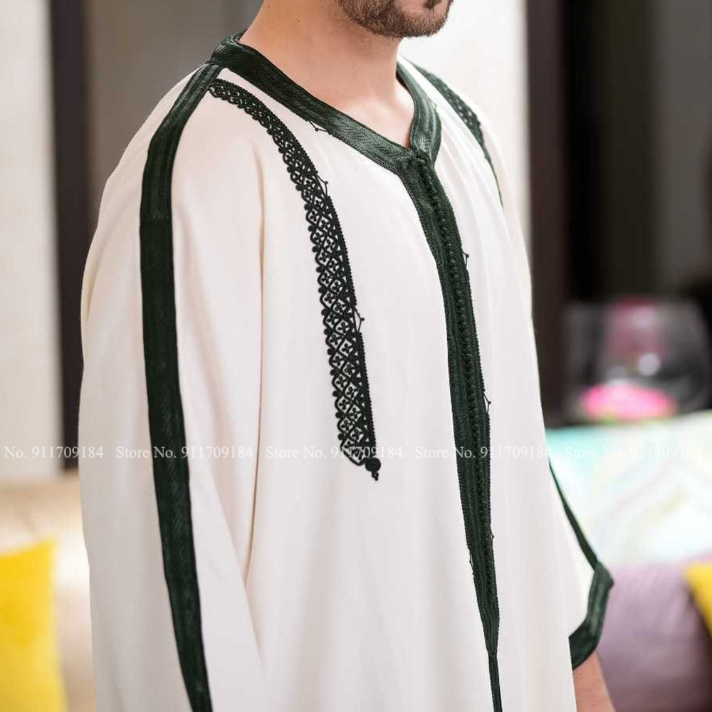 Muslim Fashion Men Jubba Thobe Arabic Casual Blouse Long Robes Gown Dubai Kaftan Islamic Clothing Prayer White Shirt Abaya Dress Men Men's Clothings Men's Kaftan