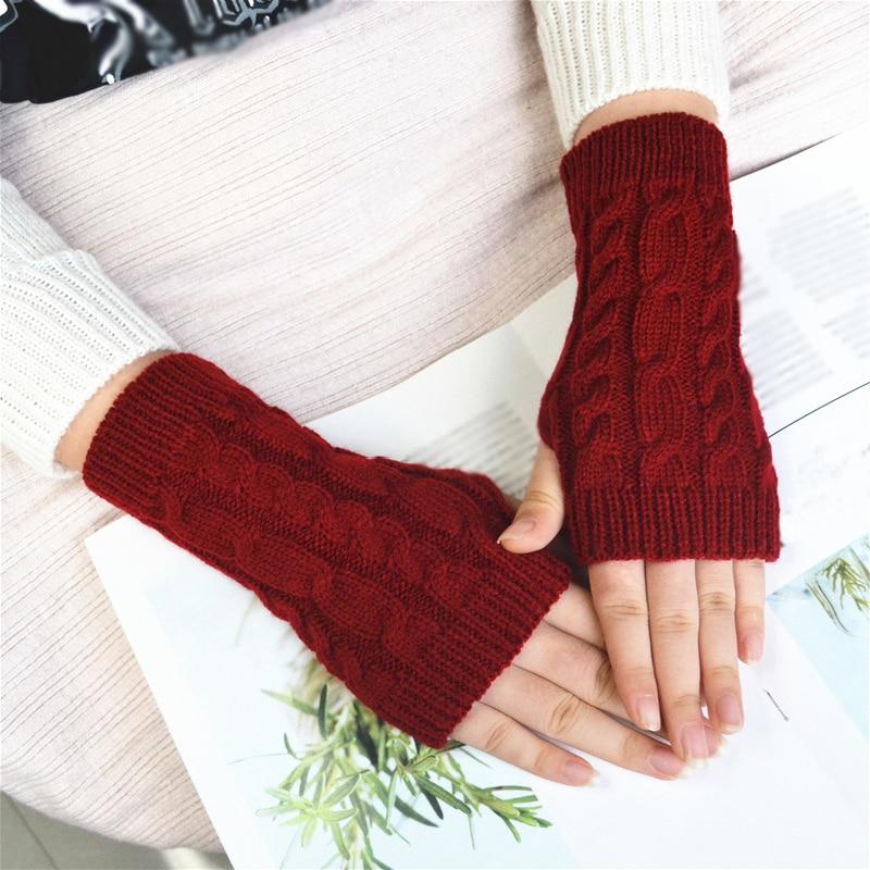 2019 New Women Men Twist Crochet Knitted Fingerless Gloves Short Arm Sleeve Warmer Mittens Winter Warm Solid Color Guantes Mujer