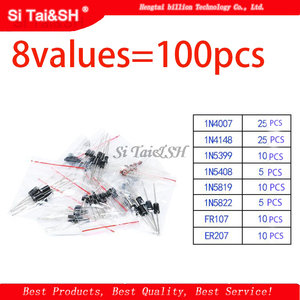 8values=100pcs 1N5399 1N5408 1N4148 1N4007 1N5819 1N5822 FR107 FR207 Switching Diode component diy kit original