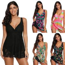 Swim Dress Women Bikini Bather Solid Black Flowy Lace Tank Overlay One Piece Swimsuit Retro Bathing Suit LC410697