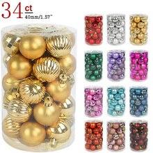 34 шт., 4 см, украшения для новогодней елки, шары, подвесные шары для рождевечерние, рождественские украшения для дома, Новогодний подарок